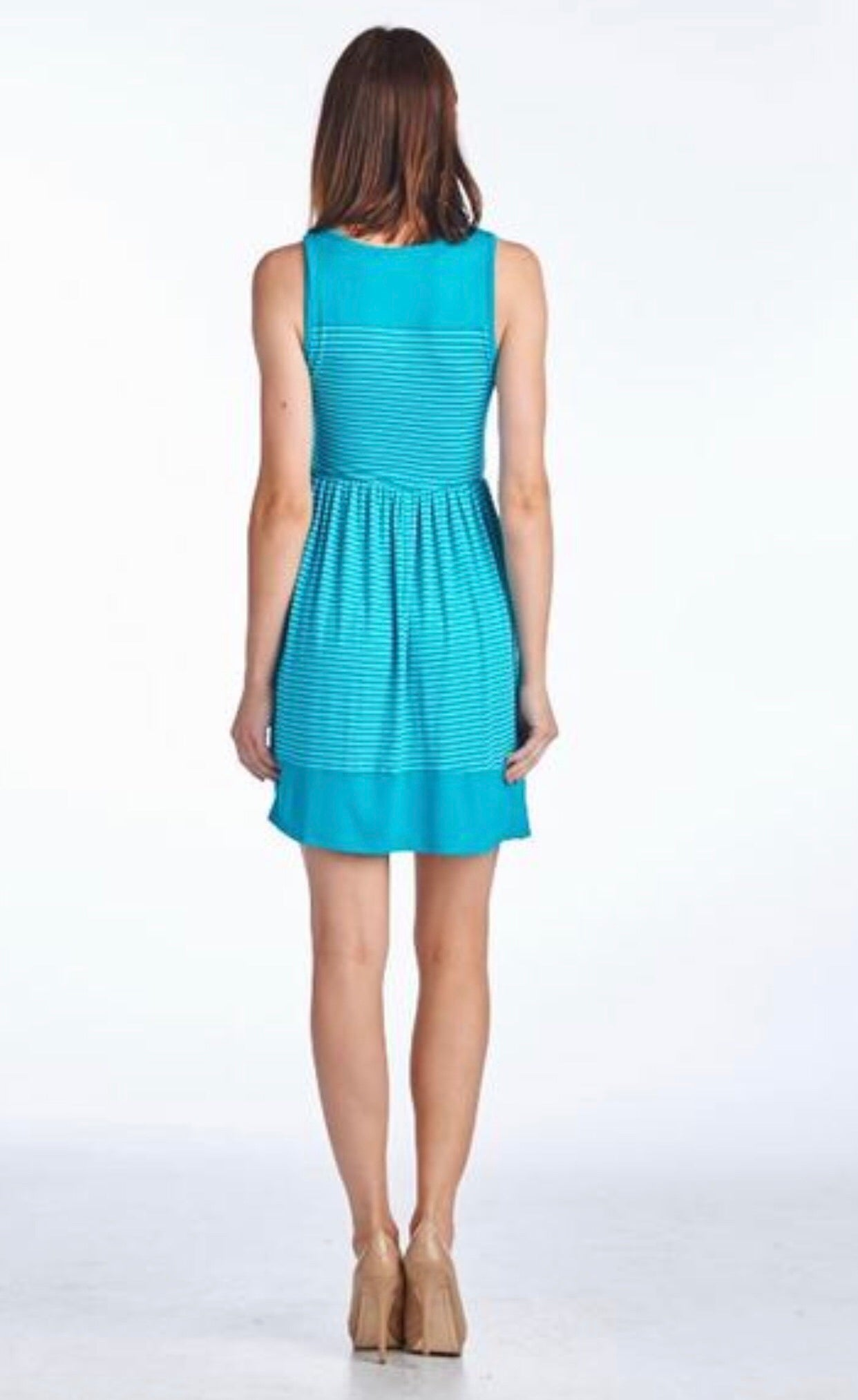 Turquoise & white stripe dress