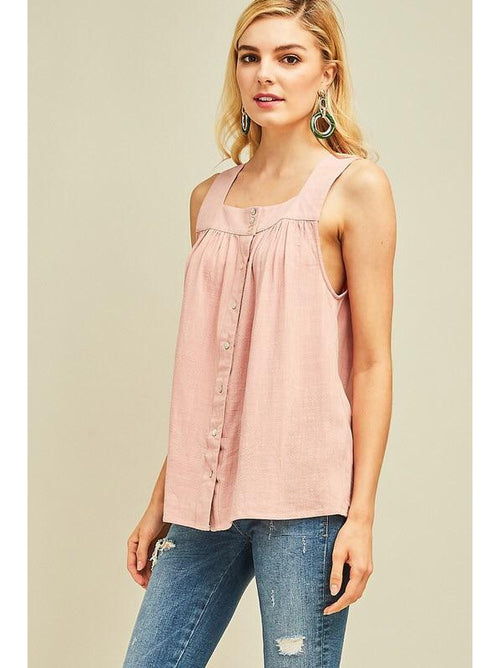 THE LINDSEY LINEN SQUARE NECK TOP - Blush