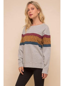 THE BRIT ANIMAL PRINT COLORBLOCK SWEATSHIRT