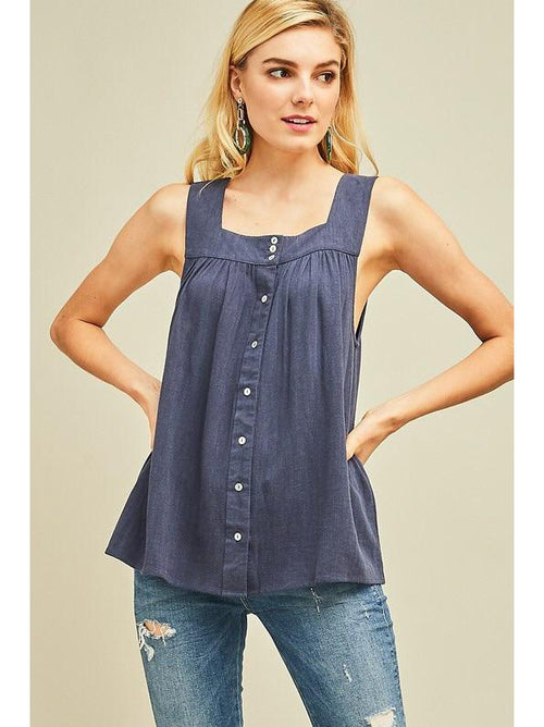 59017ac269 THE LINDSEY LINEN SQUARE NECK TOP - Navy