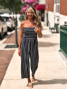 THE RACHEL SMOCKING STRIPED CROPPED JUMPSUIT - navy blue