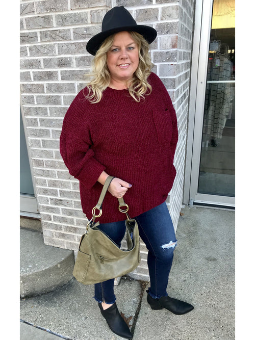 THE JENNIFER POCKET 3/4 SLEEVE SWEATER - BURGUNDY