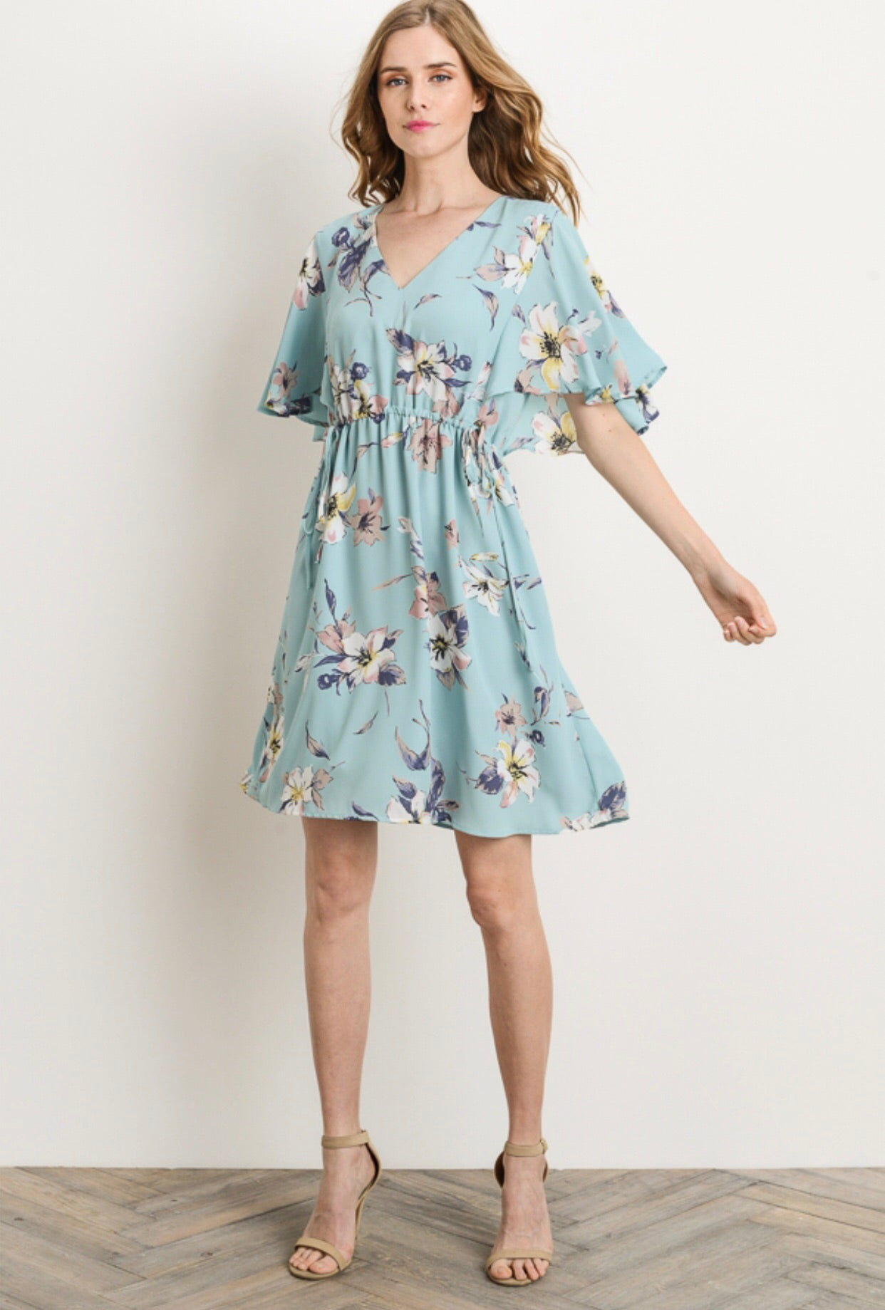 FLORAL CINCH WAIST SHIFT DRESS
