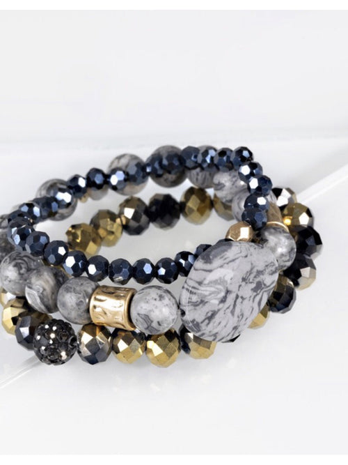 MIXED BEADS WITH STONE BRACELETS