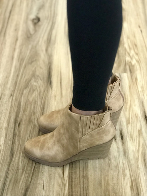 THE KELLI PU LEATHER WEDGE BOOTIE