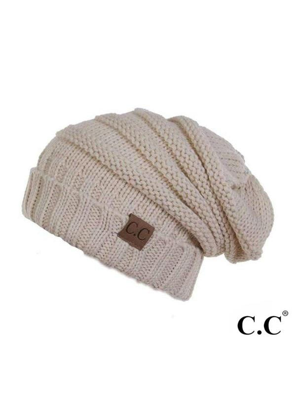 CC RIBBED KNIT SLOUCHY BEANIE