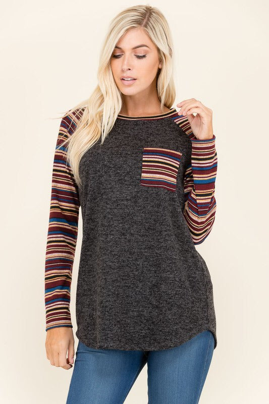 SOLID & STRIPE TOP - 2 colors