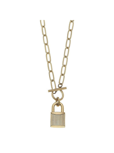 THE STELLA PADLOCK PAPERCLIP CHAIN T-BAR NECKLACE