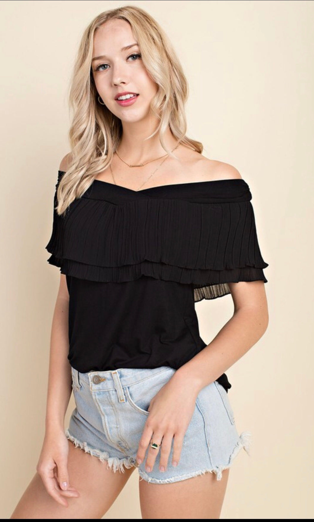 SOFT RUFFLE OFF THE SHOULDER TOP - black