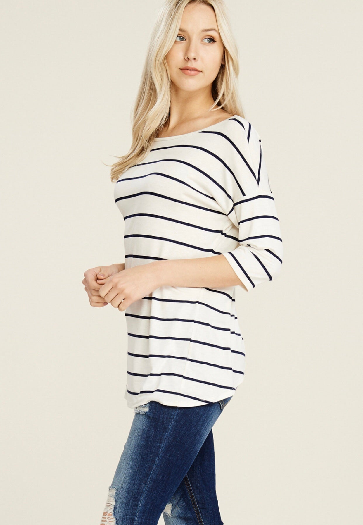 Open back mid sleeve striped knit top