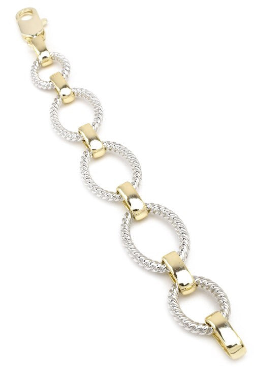TWO TONE OVAL LINKED CHAIN BRACELET