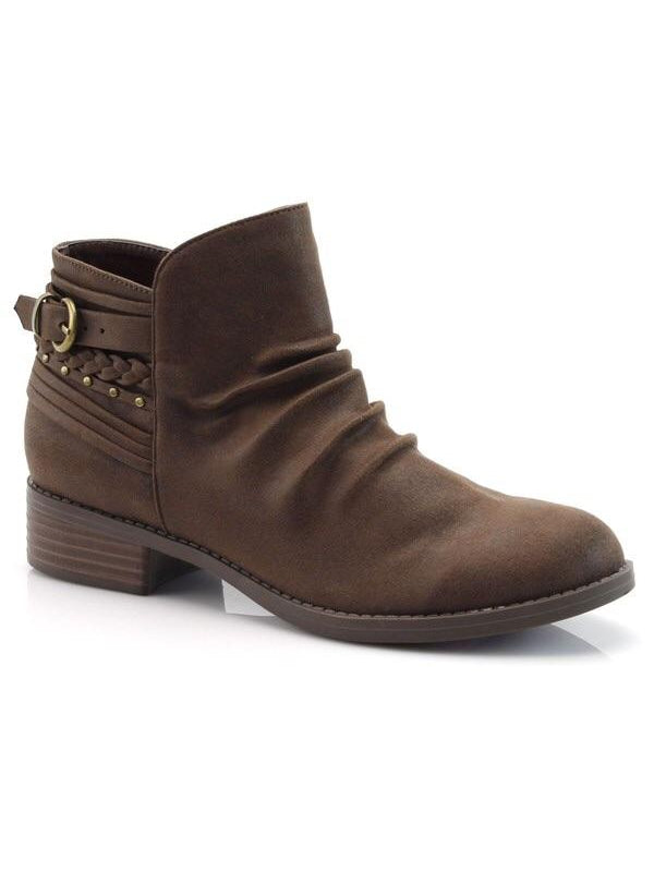 GATHERED FRONT BOOTIE WITH BUCKLE - 2 colors