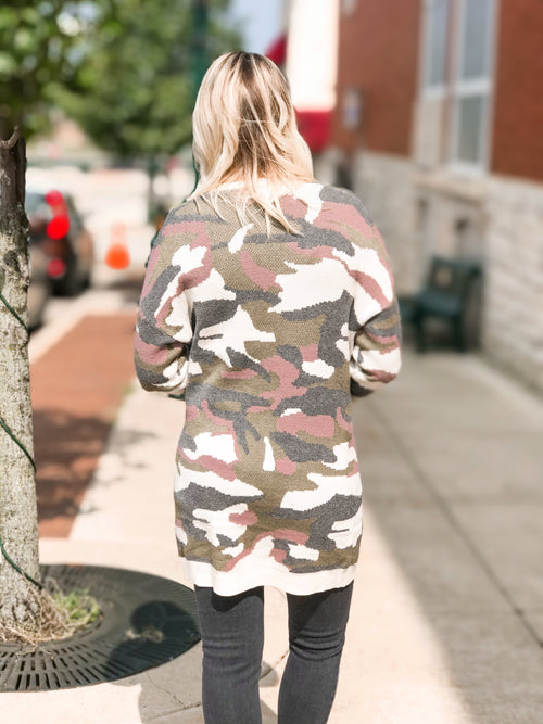 THE KIRSTEN CAMO SWEATER CARDIGAN