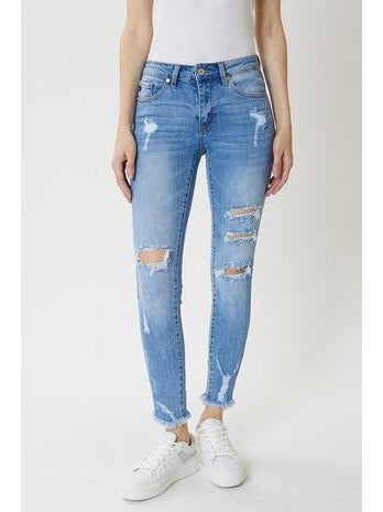 THE LIBBY MID RISE DISTRESSED DENIM