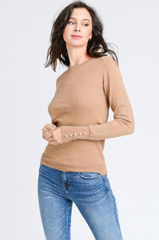 SOFT SWEATER WITH PEARL DETAIL - 2 colors