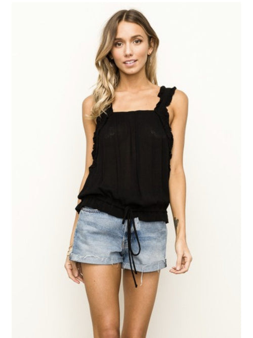 THE KIRBY RUFFLE STRAP CINCHED WAIST TOP - 2 colors