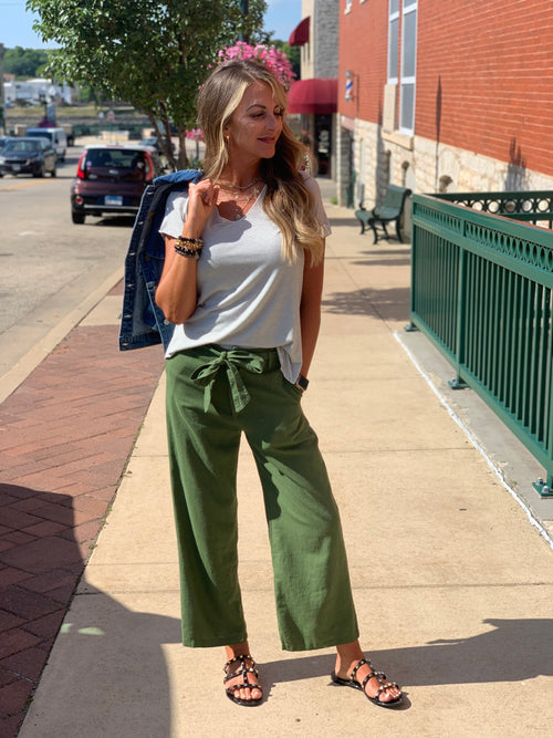 THE BARB LINEN BLEND ANKLE TROUSERS - 2 colors