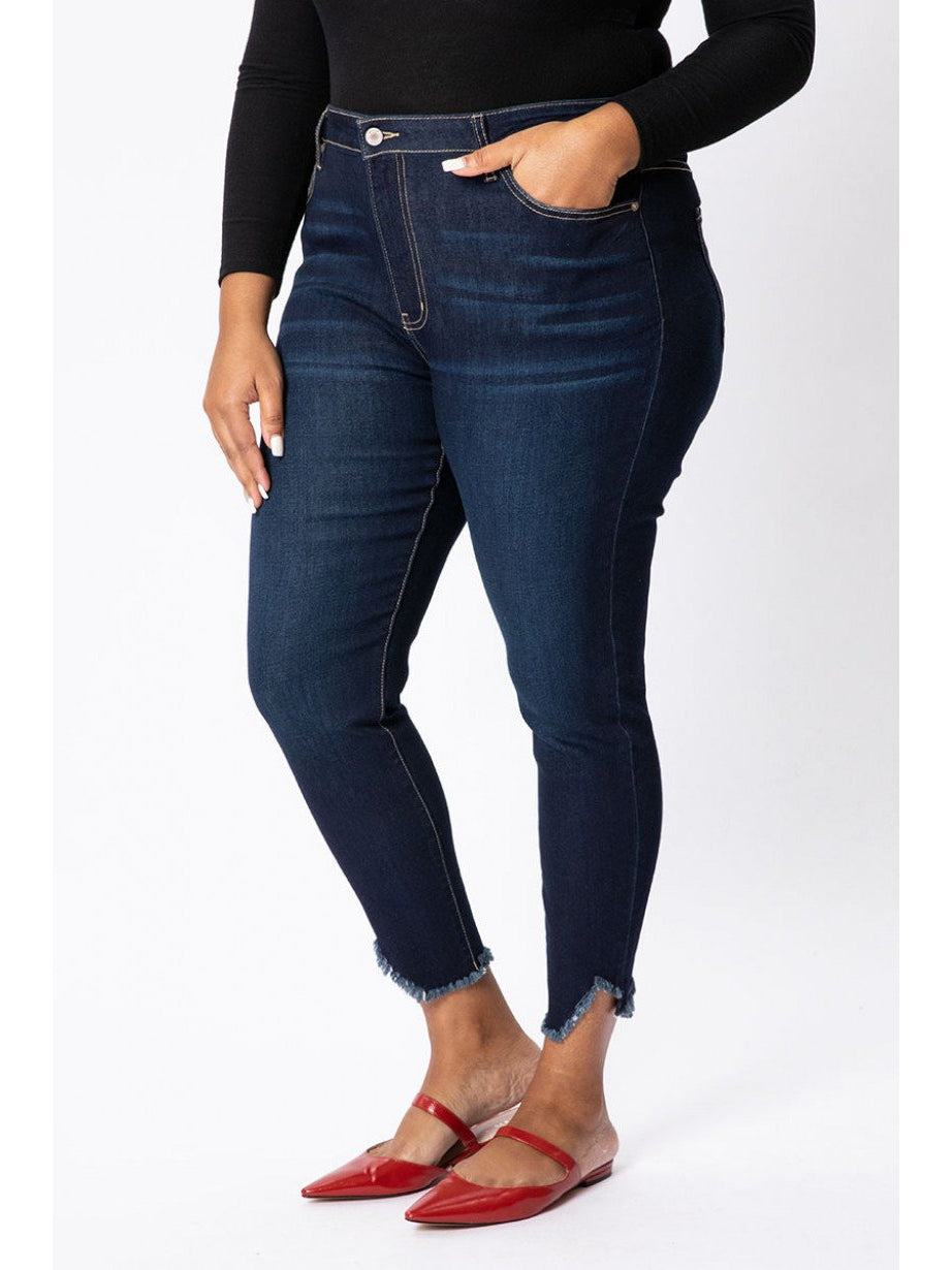 THE JULIE RAW HEM DENIM - dark wash