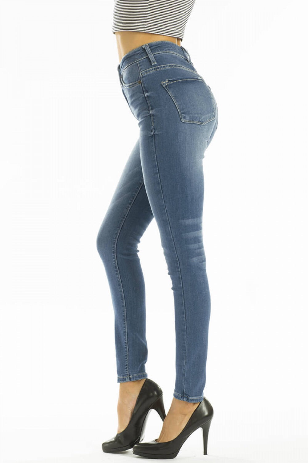 MED WASH HIGH WAIST NONDISTRESSED JEANS - Kancan