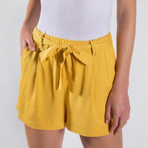 THE BROOKE BELTED RAYON SHORTS - yellow