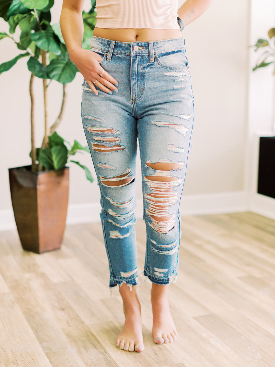 THE HAYLEY HI WAISTED DISTRESSED DENIM