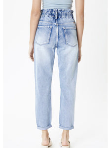 THE VIOLET PAPER BAG CUFFED DENIM - light wash