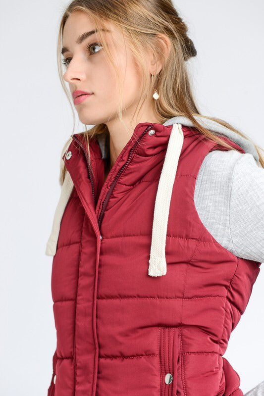 HOODED PUFFY VEST - 3 colors