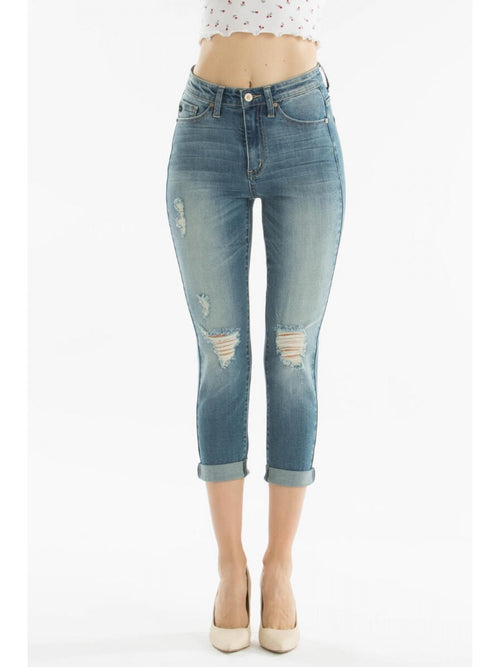 THE PAIGE MID TO HIGH RISE MEDIUM CROPPED DENIM