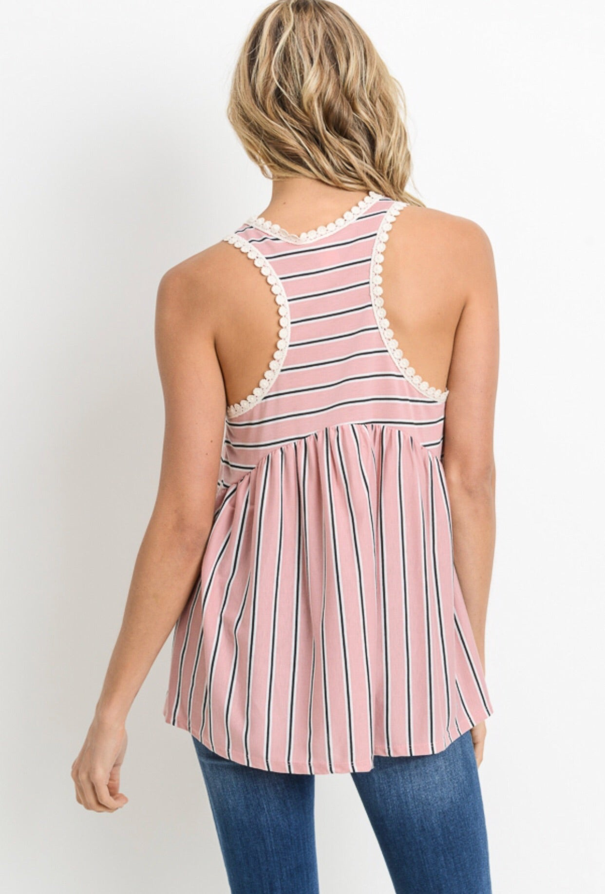 PINK AND BLACK STRIPE PEPLUM TANK