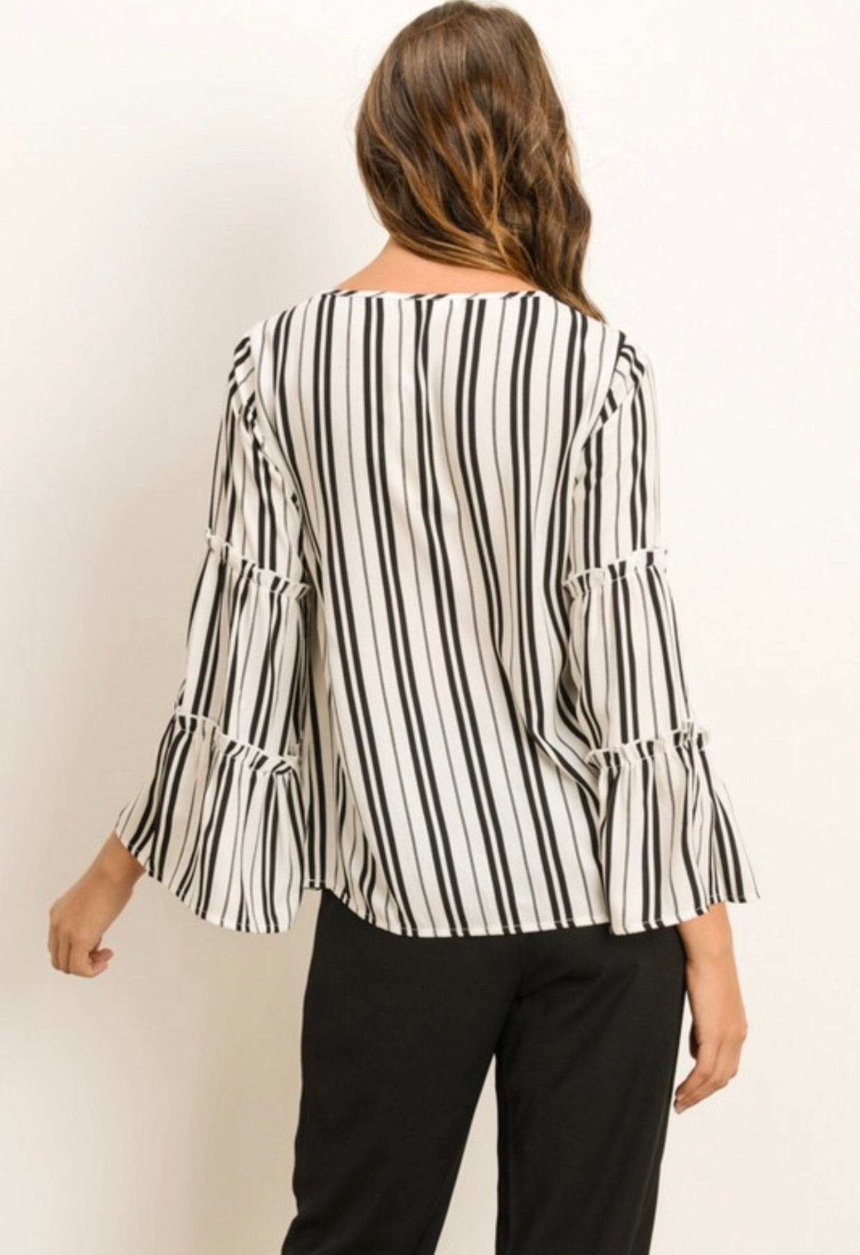 FASHION BELL SLEEVE STRIPED BLOUSE