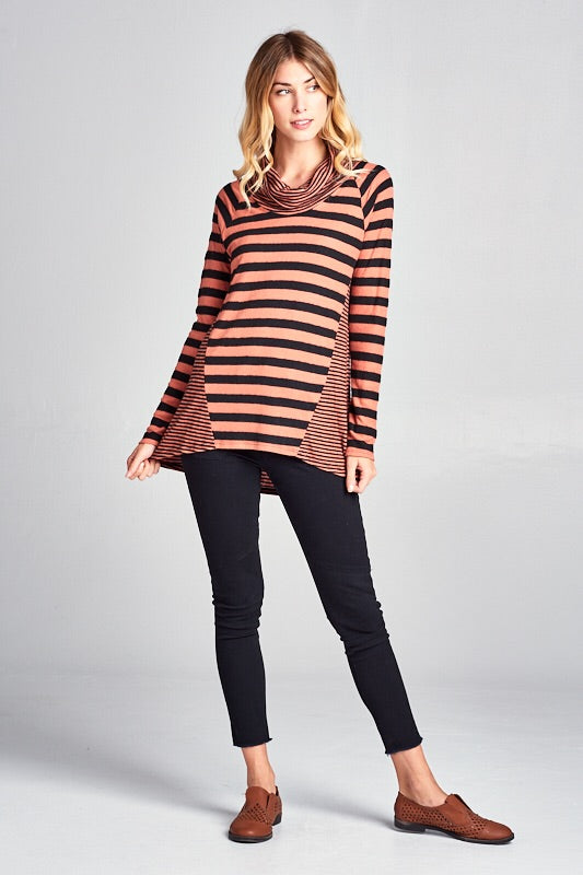 SOFT STRIPED COWL NECK TOP - Rust