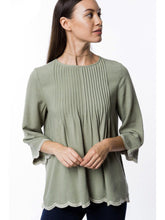 Load image into Gallery viewer, THE JODINE SCALLOPED TRIM TOP - SAGE-Shirts-j boutique
