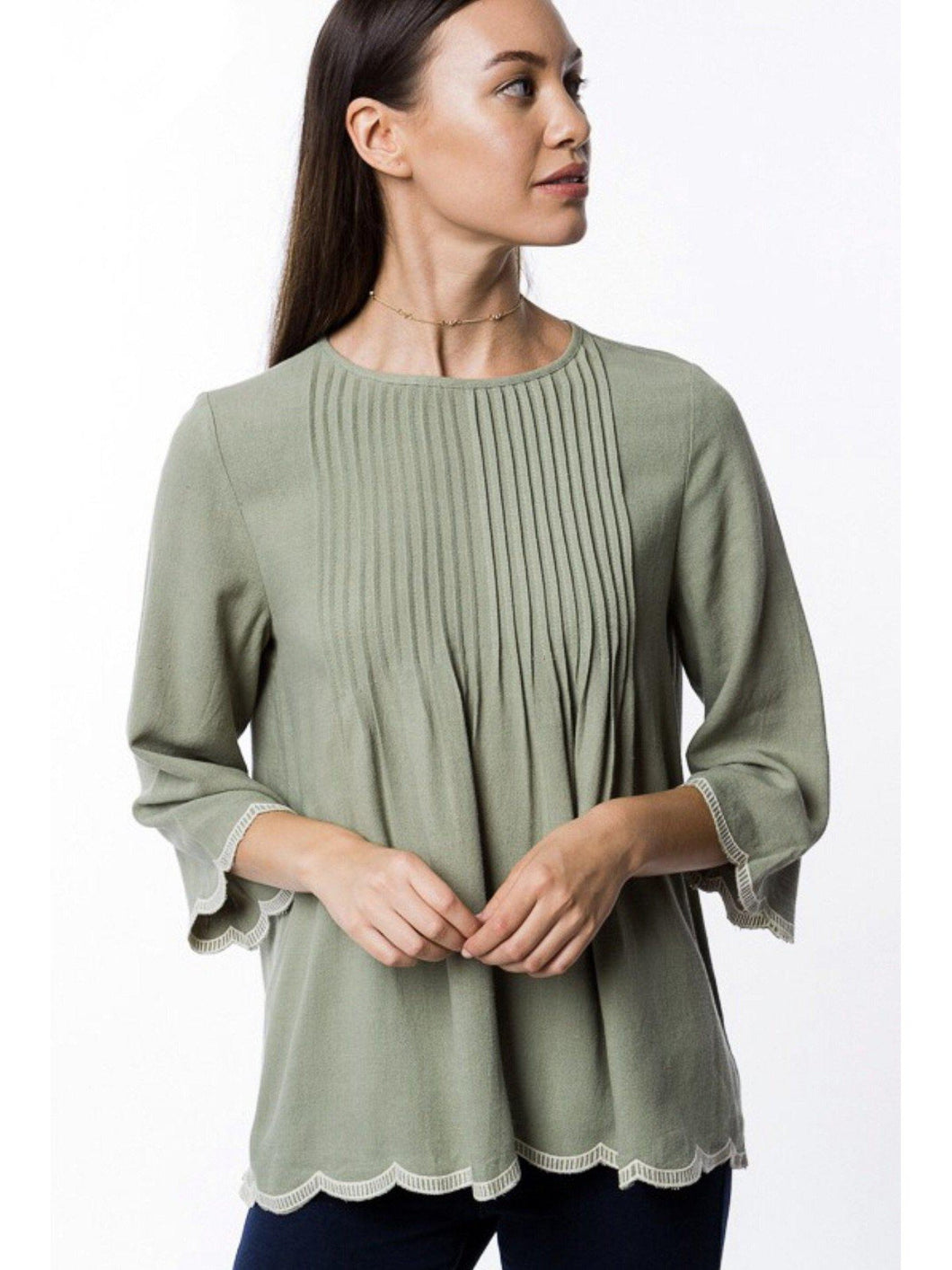 THE JODINE SCALLOPED TRIM TOP - SAGE-Shirts-j boutique