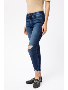 THE VICTORIA MID RISE ANKLE DISTRESSED DENIM