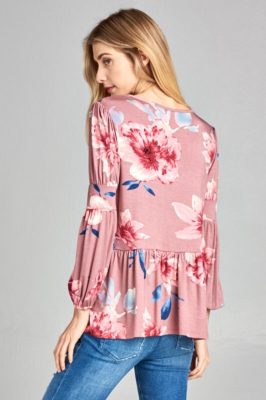 FLORAL PEPLUM ARM BAND SLEEVE TOP