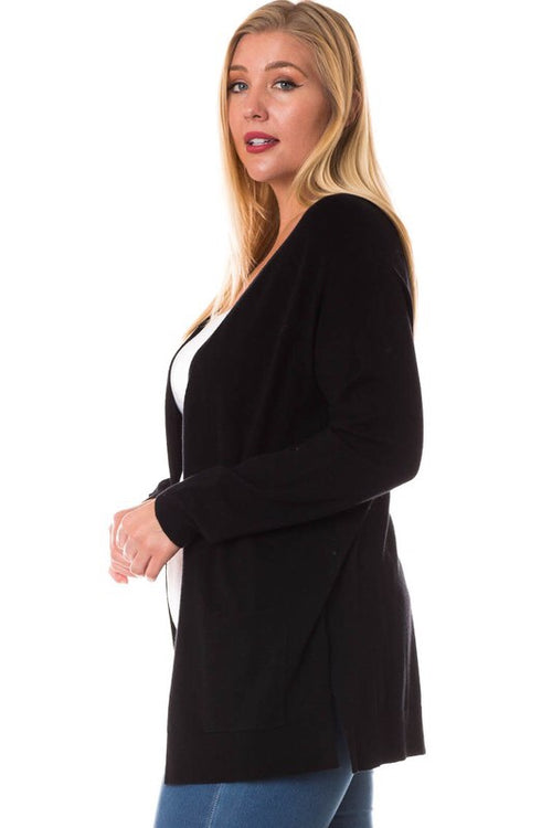 LIGHTWEIGHT MIDI CARDIGAN - BLACK PLUS