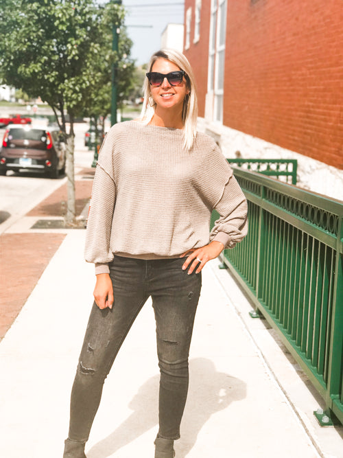 THE JACQUELINE WAFFLE KNIT TOP