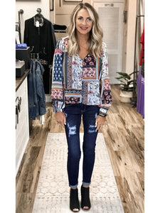 THE SYDNEY FLORAL PRINT MIX BLOUSE