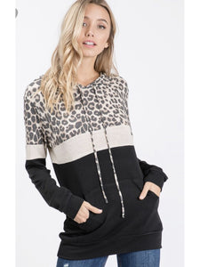 THE JAZZY LEOPARD COLORBLOCK HOODIE