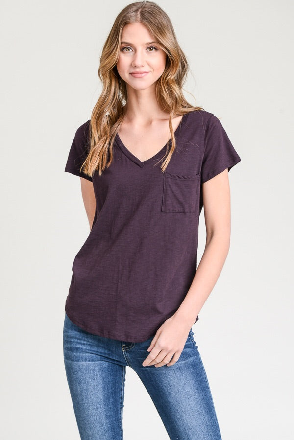 V neck modal slub tee- 3 colors
