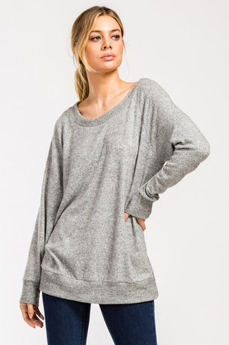 OFF THE SHOULDER BRUSHED KNIT TOP- Heather Grey