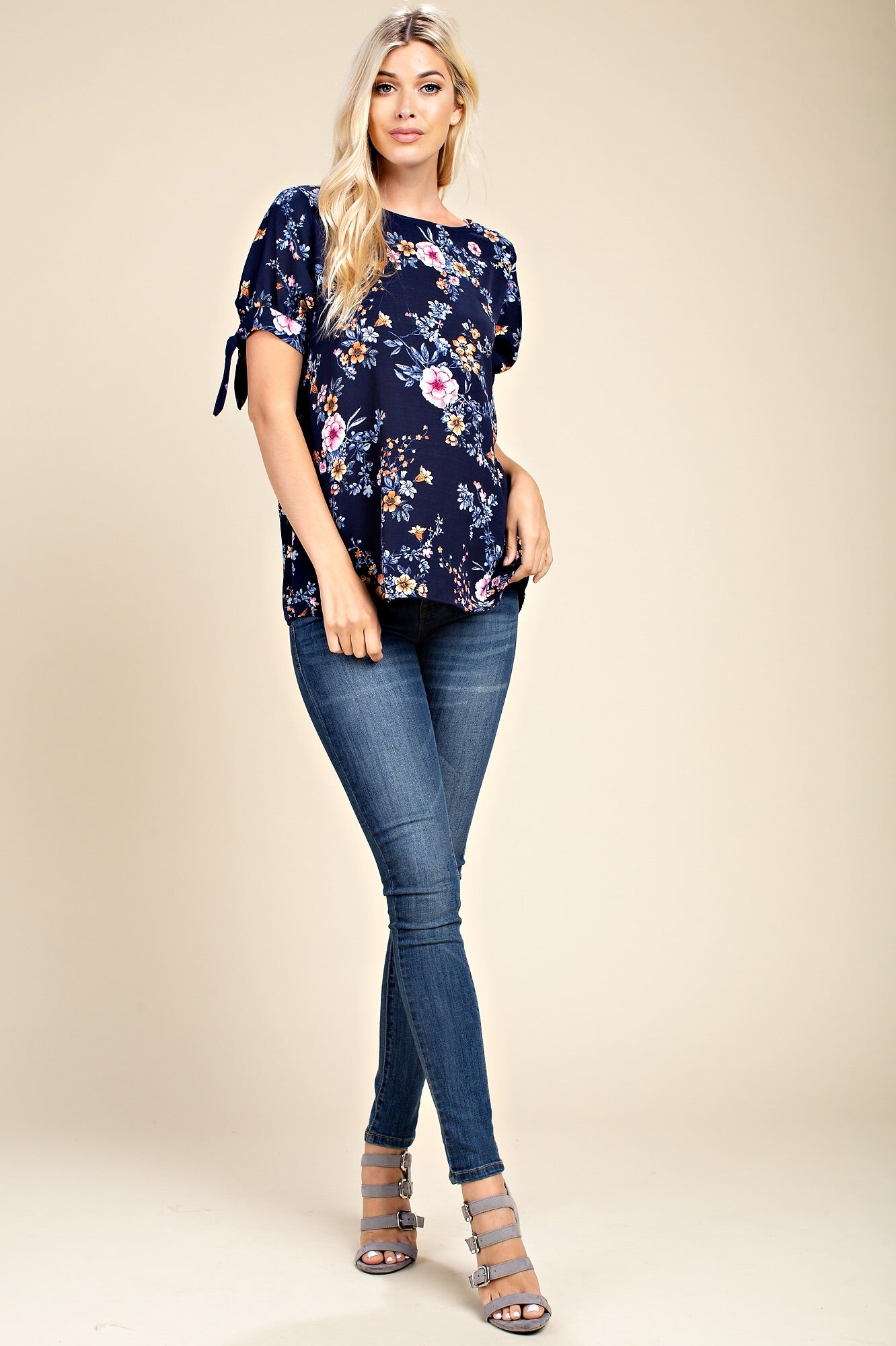 FLOWER PRINTED SLEEVE TIE,CRISSCROSS BACK