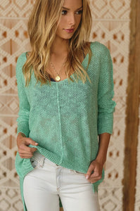 SOFT LUXE V NECK SWEATER - MINT