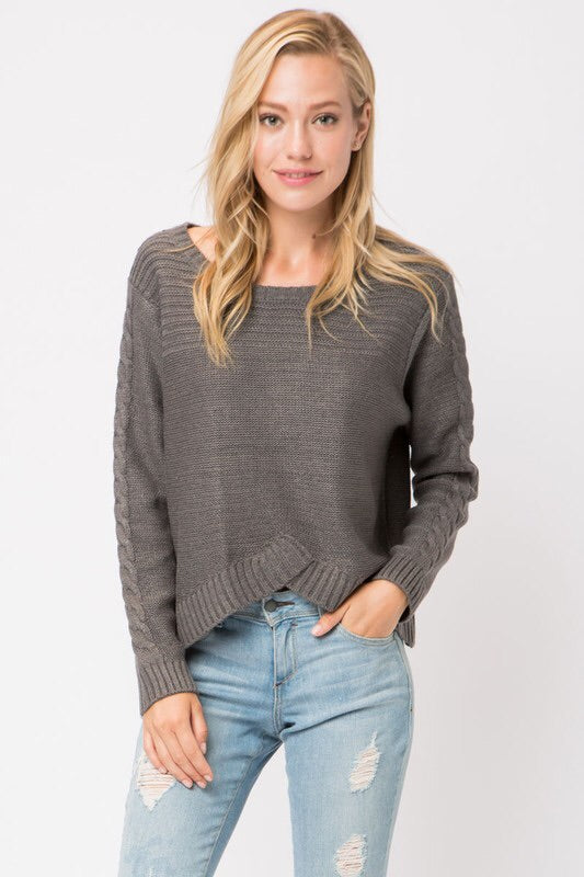 SURPLICE SPLIT FRONT SWEATER