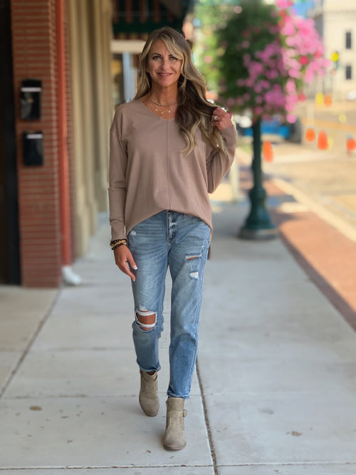 THE MORGAN V NECK SLOUCH SWEATER - 2 COLORS