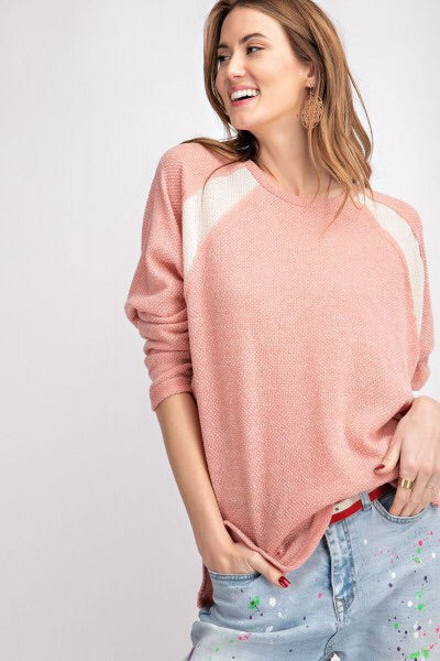 THE MELANIE SOFT HACCI KNIT TOP - Faded coral