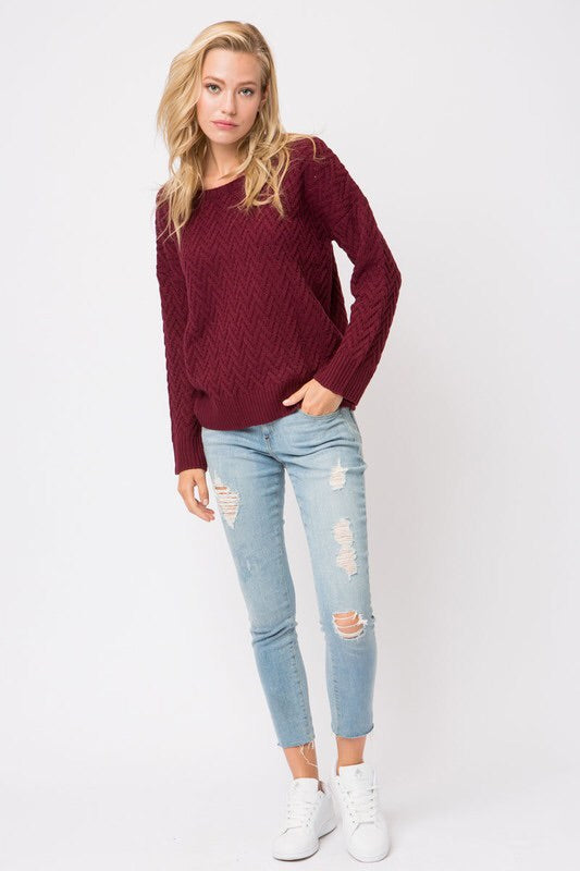 ZIGZAG CHUNKY KNIT SWEATER
