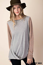 Load image into Gallery viewer, GREY & MOCHA MIX DRAPED TOP