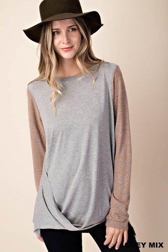 GREY & MOCHA MIX DRAPED TOP