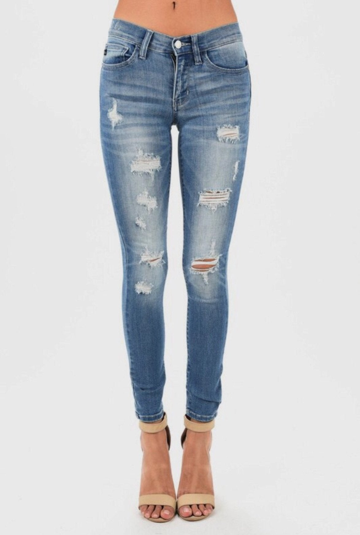 MEDIUM WASH DESTROYED SKINNY DENIM - Judy Blue